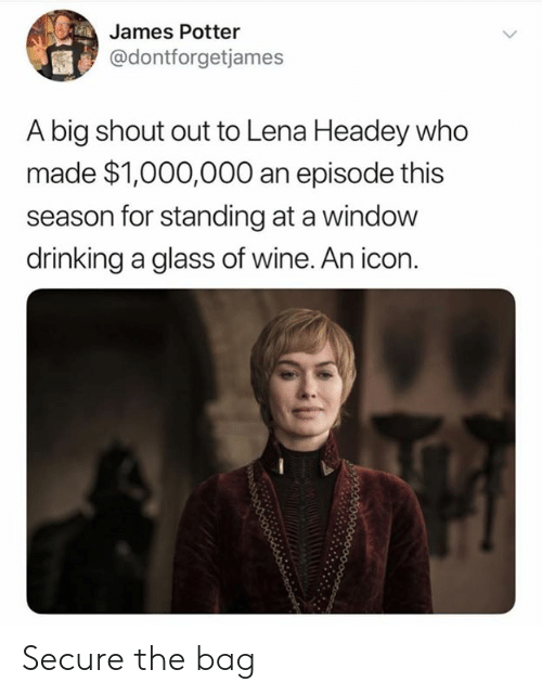 Dank, Drinking, and Lena Headey: James Potter  @dontforgetjames  A big shout out to Lena Headey who  made $1,000,000 an episode this  season for standing at a window  drinking a glass of wine. An icon Secure the bag