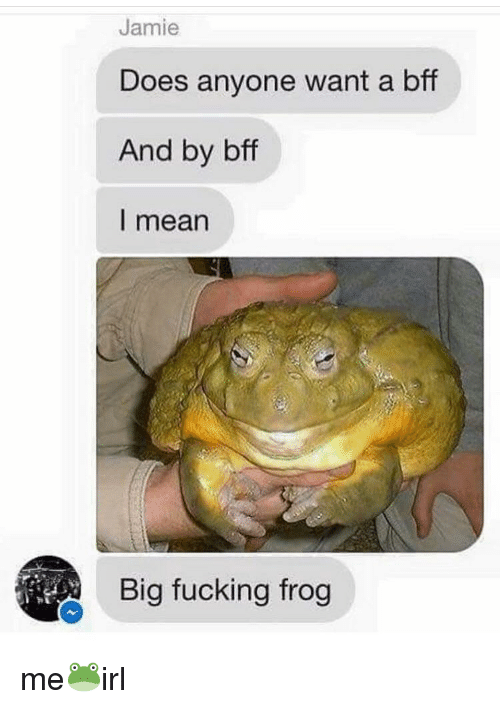 Fucking, Mean, and Big: Jamie  Does anyone want a bff  And by bff  l mean  Big fucking frog me🐸irl