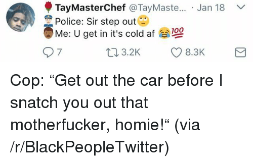 "Af, Anaconda, and Blackpeopletwitter: Jan 18 V  TayMasterChef @TayMaste..  Police: Sir step out  Me: U get in it's cold af 100  9 7 <p>Cop: ""Get out the car before I snatch you out that motherfucker, homie!"" (via /r/BlackPeopleTwitter)</p>"