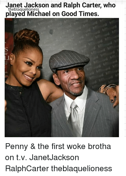Memes, Good, and Janet Jackson: Janet Jackson and Ralph Carter, who  theblaquelioness  played Michael on Good Times  IC Penny & the first woke brotha on t.v. JanetJackson RalphCarter theblaquelioness