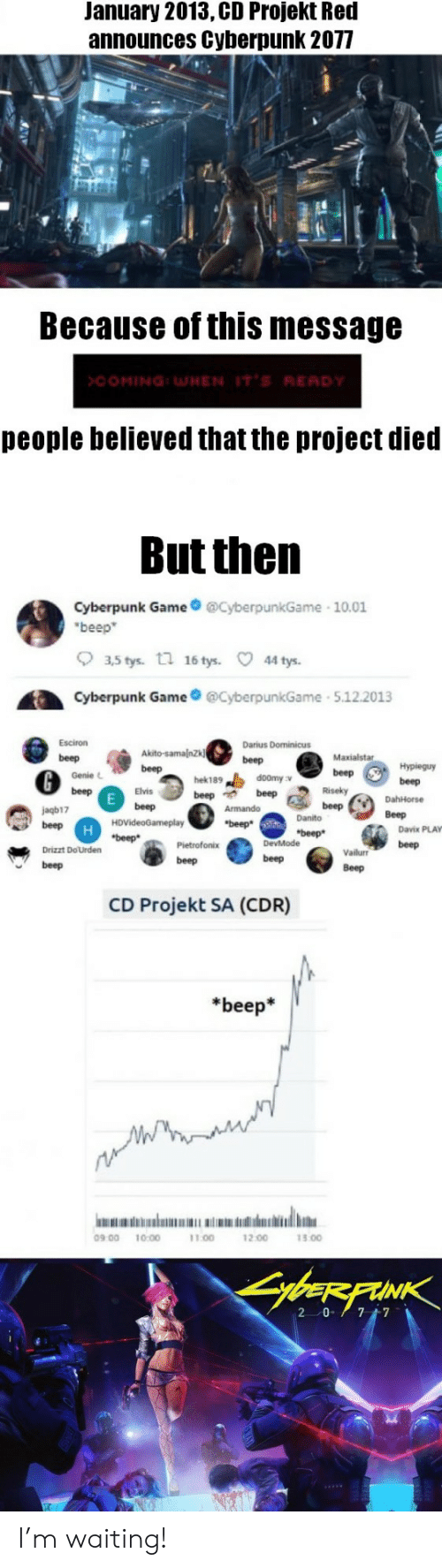 Beep Beep Beep: January 2013, CD Projekt Red  announces Cyberpunk 2077  Because of this message  >COMING:WHEN IT'S RE  people believed that the project died  But then  Cyberpunk Game@CyberpunkGame 10.01  beep  。35tys.  n  16 tys.  44 tys.  Cyberpunk GameyberpunkGame 5.122013  @beGen.bete  Esciron  Darius Dominicus  beep m.e: se-,  Maxialstar  Genie L  hek189  doomy v  Elvis  jagb17  Danito  Davix PLAY  Vailur beep  Beep  Drizzt DoUrden  beep  beep  beep  CD Projekt SA (CDR)  *beep*  09 00 10:00  11.00  12.00  13.00 I'm waiting!