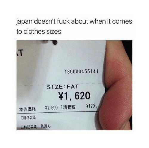 Clothes, Fuck, and Japan: japan doesn't fuck about when it comes  to clothes sizes  T  130000455141  SIZE FAT  ¥1, 620  ¥120)  1.500 (消費税  口參考定任  口特記事項色落ち