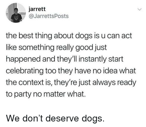 Dogs, Memes, and Party: jarrett  @JarrettsPosts  the best thing about dogs is u can act  like something really good just  happened and they'l instantly start  celebrating too they have no idea what  the context is, they're just always ready  to party no matter what. We don't deserve dogs.