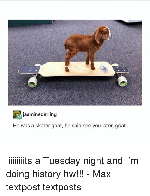 Memes, Goat, and History: jasminedarling  He was a skater goat, he said see you later, goat. iiiiiiiiits a Tuesday night and I'm doing history hw!!! - Max textpost textposts