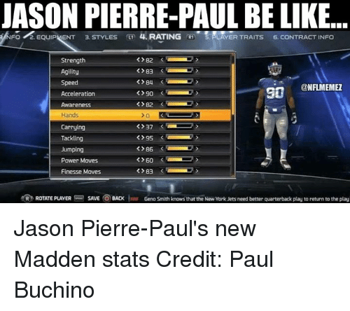 Geno Smith: JASON PIERRE PAUL BE LIKE  FO  2. EQUIPMENT 3. STYLES  4. RATING  R1 LAYER TRAITS  6. CONTRACT INFO  82  Strength  83  Agility  84  Speed  @NFL MEMEZ  90  Acceleration  Awareness  Hands  37  Carrying  Tackling  95  86  Jumping  >60  Power Moves  Finesse Moves  83  R ROTATE PLAYER  SAVE  BACK  Ivar Geno Smith knows that the New Vork Jetsneed better quarterback play to return to the play Jason Pierre-Paul's new Madden stats Credit: Paul Buchino