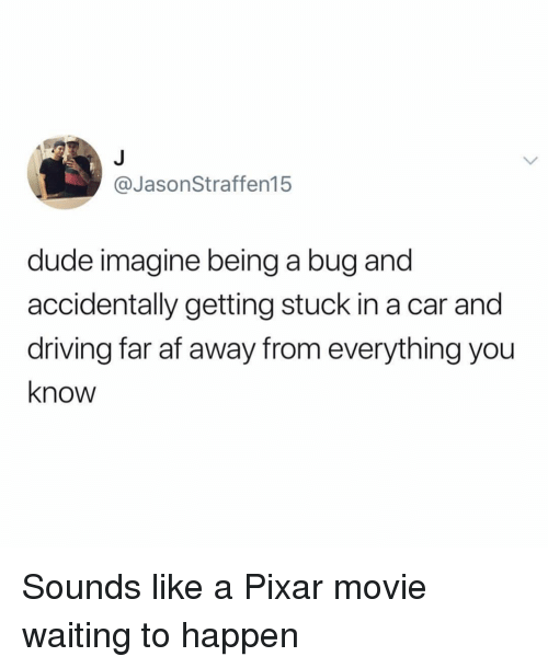 Af, Driving, and Dude: @JasonStraffen15  dude imagine being a bug and  accidentally getting stuck in a car and  driving far af away from everything you  know Sounds like a Pixar movie waiting to happen