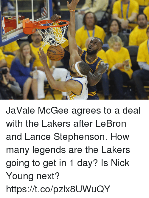 Los Angeles Lakers, Lance Stephenson, and Memes: JaVale McGee agrees to a deal with the Lakers after LeBron and Lance Stephenson. How many legends are the Lakers going to get in 1 day?   Is Nick Young next? https://t.co/pzlx8UWuQY