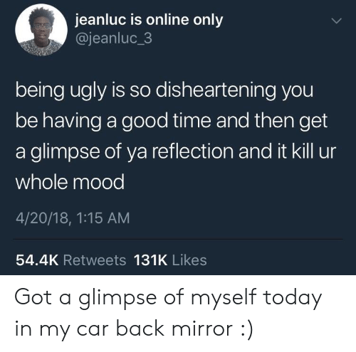 18 1: jeanluc is online only  @jeanluc_3  being ugly is so dishearten ing you  be having a good time and then get  a glimpse of ya reflection and it kill ur  whole mood  4/20/18, 1:15 AM  54.4K Retweets 131K Likes Got a glimpse of myself today in my car back mirror :)