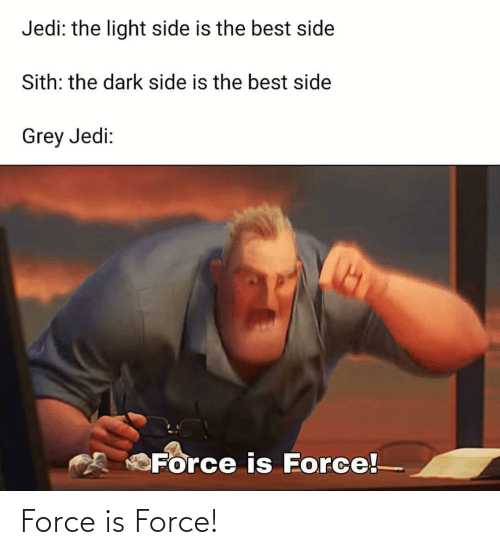 force: Jedi: the light side is the best side  Sith: the dark side is the best side  Grey Jedi:  Force is Force! Force is Force!