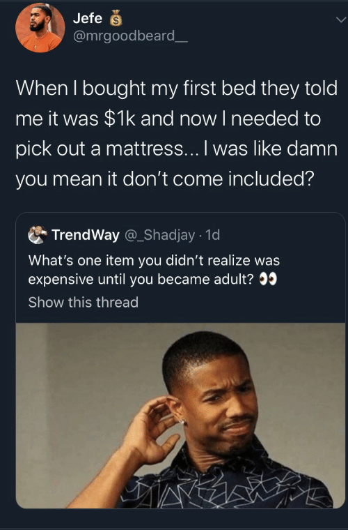 expensive: Jefe  @mrgoodbeard_  When I bought my first bed they told  me it was $1k and now I needed to  pick out a mattress... I was like damn  you mean it don't come included?  TrendWay @_Shadjay 1d  What's one item you didn't realize was  expensive until you became adult?  Show this thread