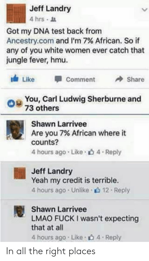 Lmao, Yeah, and Ancestry: Jeff Landry  4hrs .  Got my DNA test back from  Ancestry.com and i.m 7% African. So if  any of you white women ever catch that  jungle fever, hmu.  Like Comme  Share  O 73 others  You, Carl Ludwig Sherburne and  Shawn Larrivee  Are you 7% African where it  counts?  4 hours ago . Like . 4 . Reply  Jeff Landry  Yeah my credit is terrible.  4 hours ago . Unlike . 12 . Reply  Shawn Larrivee  LMAO FUCK I wasn't expecting  that at all  4 hours ago Like b 4 Reply In all the right places