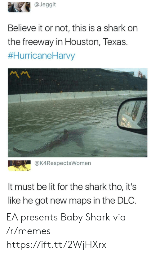 Lit, Memes, and Shark: @Jeggit  Believe it or not, this is a shark on  the freeway in Houston, Texas.  #HurricaneHarvy  MM  @K4RespectsWomen  It must be lit for the shark tho, it's  like he got new maps in the DLC. EA presents Baby Shark via /r/memes https://ift.tt/2WjHXrx