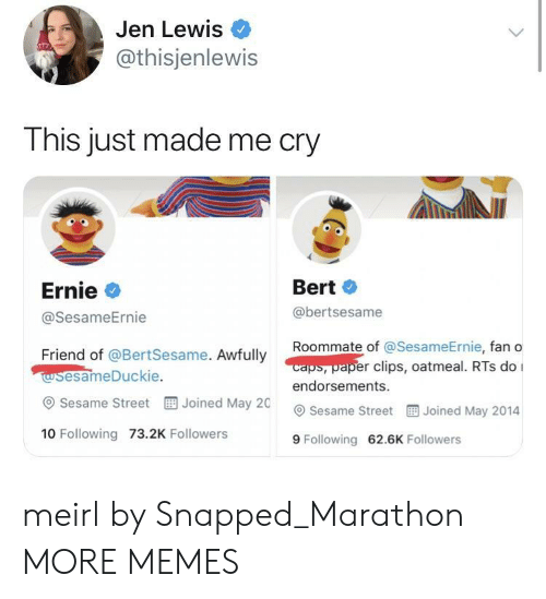 Dank, Memes, and Roommate: Jen Lewis  @thisjenlewis  This just made me cry  Ernie  @SesameErnie  Bert  @bertsesame  Roommate of @Se  sameErnie, fan o  caps, paper clips, oatmeal. RTs do I  Friend of @BertSesame. Awfully  wsesameDuckie  @ Sesame Street  10 Following 73.2K Followers  endorsements.  Joined May 20 Sesame Street  Joined May 2014  9 Following 62.6K Followers meirl by Snapped_Marathon MORE MEMES