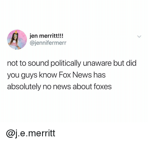News, Fox News, and Dank Memes: jen merritt!!!  @jennifermerr  not to sound politically unaware but did  you guys know Fox News has  absolutely no news about foxes @j.e.merritt