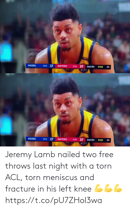 Nailed: Jeremy Lamb nailed two free throws last night with a torn ACL, torn meniscus and fracture in his left knee  💪💪💪 https://t.co/pU7ZHoI3wa