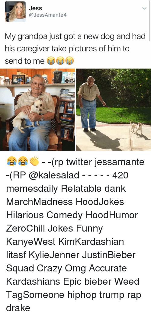 Memes, Weed, and Grandpa: Jess  @Jess Amante  My grandpa just got a new dog and had  his caregiver take pictures of him to  send to me 😂😂👏 - -(rp twitter jessamante -(RP @kalesalad - - - - - 420 memesdaily Relatable dank MarchMadness HoodJokes Hilarious Comedy HoodHumor ZeroChill Jokes Funny KanyeWest KimKardashian litasf KylieJenner JustinBieber Squad Crazy Omg Accurate Kardashians Epic bieber Weed TagSomeone hiphop trump rap drake