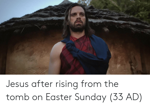 Easter, Jesus, and Sunday: Jesus after rising from the tomb on Easter Sunday (33 AD)