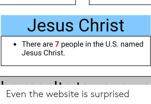 Funny, Jesus, and Jesus Christ: Jesus Christ  There are 7 people in the U.S. named  Jesus Christ Even the website is surprised