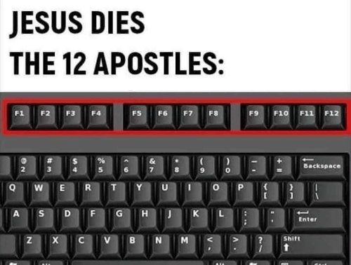 Dies: JESUS DIES  THE 12 APOSTLES:  F1  F2  F3  FS  F6  F7  F8  F9  F10 F11 F12  F4  &  Backspace  3  R  Y  A  G  K  Enter  Shift