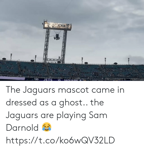 Nfl, Ghost, and Jets: JETS  IAGUARS  VS The Jaguars mascot came in dressed as a ghost.. the Jaguars are playing Sam Darnold 😂 https://t.co/ko6wQV32LD
