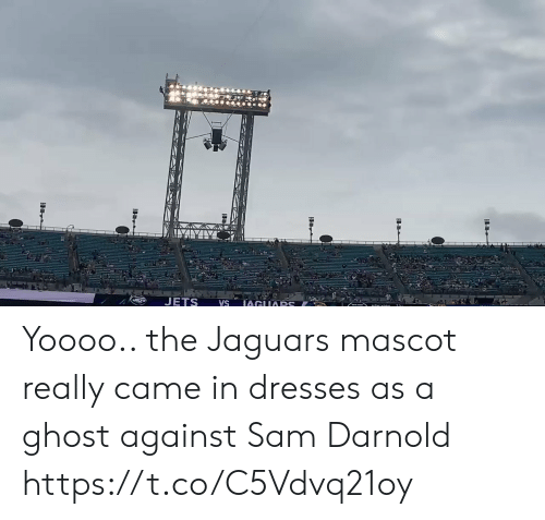 Football, Nfl, and Sports: JETS  IAGUARS  VS Yoooo.. the Jaguars mascot really came in dresses as a ghost against Sam Darnold https://t.co/C5Vdvq21oy