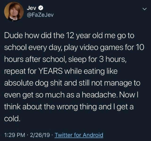 Android, Dank, and Dude: Jev  @FaZeJev  Dude how did the 12 year old me go to  school every day, play video games for 10  hours after school, sleep for 3 hours,  repeat for YEARS while eating like  absolute dog shit and still not manage to  even get so much as a headache. Now l  think about the wrong thing and I get a  cold  1:29 PM 2/26/19 Twitter for Android