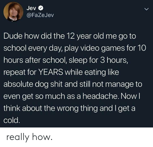 go to school: Jev  L  @FaZeJev  Dude how did the 12 year old me go to  school every day, play video games for 10  hours after school, sleep for 3 hours,  repeat for YEARS while eating like  absolute dog shit and still not manage to  even get so much as a headache. Now I  think about the wrong thing and I get a  cold. really how.