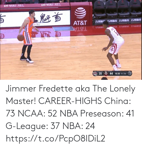 lonely: Jimmer Fredette aka The Lonely Master!   CAREER-HIGHS China: 73 NCAA: 52 NBA Preseason: 41  G-League: 37 NBA: 24   https://t.co/PcpO8IDiL2