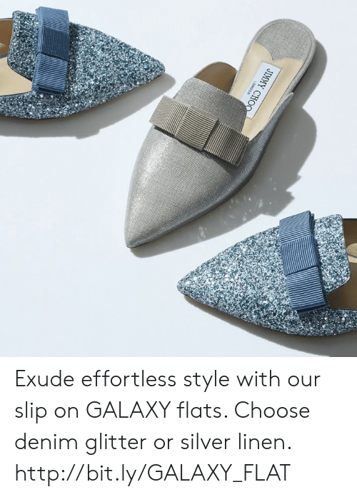 Memes, Http, and Silver: JIMMY CH Exude effortless style with our slip on GALAXY flats. Choose denim glitter or silver linen.  http://bit.ly/GALAXY_FLAT