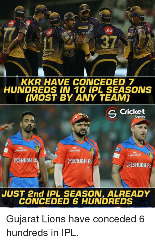 Memes, Lions, and 🤖: Jio  KKR HAVE CONCEDED 7  HUNDREDS IN 10 IPL SEASONS  [MOST BY ANY TEAM)  S Shots  SSHUDH  SHUDH P  JUST 2nd IPL SEASON, ALREADY  CONCEDED HUNDREDS Gujarat Lions have conceded 6 hundreds in IPL.