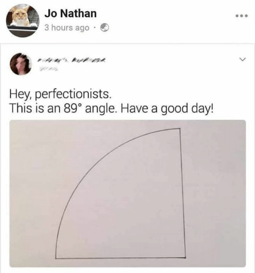 angle: Jo Nathan  3 hours ago  ' t  Hey, perfectionists  This is an 89° angle. Have a good day!