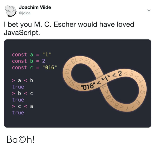 "javascript: Joachim Viide  @jviide  I bet you M. C. Escher would have loved  JavaScript.  ""1""  const a  13  12  const b  2  const c = ""016""  3  15  > a <b  016""""1 < 2  true  >b<c  true  C<a  true  11  14 Ba©h!"