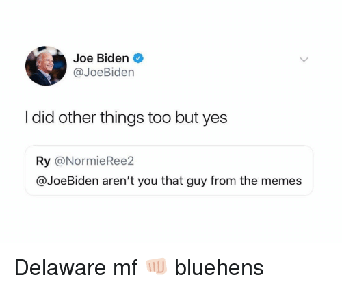Ironic, Joe Biden, and Memes: Joe Biden  @JoeBiden  I did other things too but yes  Ry @NormieRee2  @JoeBiden aren't you that guy from the memes Delaware mf 👊🏻 bluehens
