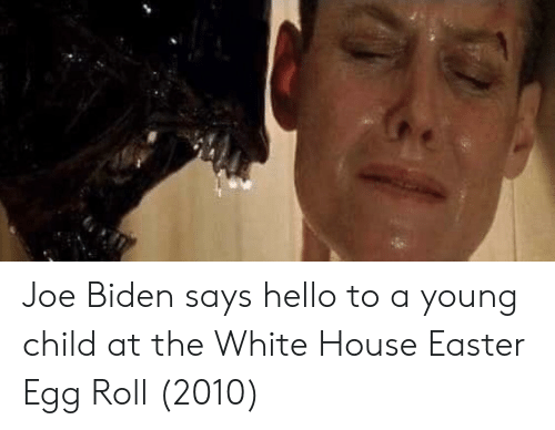 Easter, Hello, and Joe Biden: Joe Biden says hello to a young child at the White House Easter Egg Roll (2010)