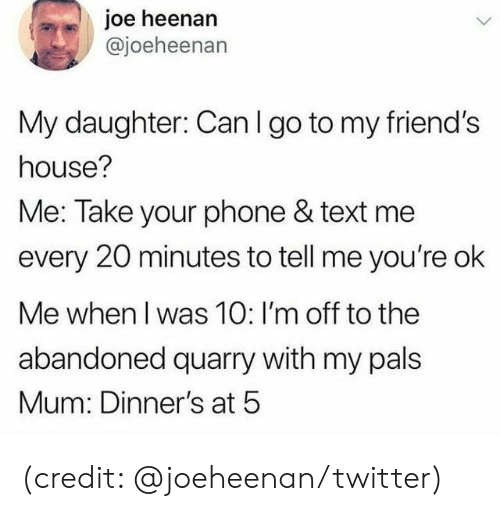 Im Off: joe heenan  @joeheenan  My daughter: Can I go to my friend's  house?  Me: Take your phone & text me  every 20 minutes to tell me you're ok  Me when I was 10: I'm off to the  abandoned quarry with my pals  Mum: Dinner's at 5 (credit: @joeheenan/twitter)