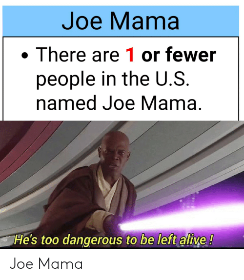 Alive, Reddit, and Mama: Joe Mama  There are 1 or fewer  people in the U.S  named Joe Mama  He's too dangerous to be left alive! Joe Mama