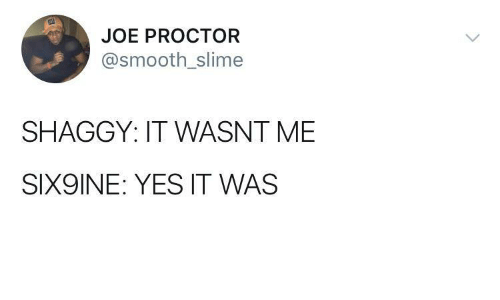 wasnt me: JOE PROCTOR  @smooth_slime  SHAGGY: IT WASNT ME  SIX9INE: YES IT WAS