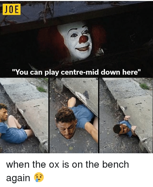 """Soccer, Joe, and Can: JOE  """"You can play centre-mid down here"""" when the ox is on the bench again 😢"""