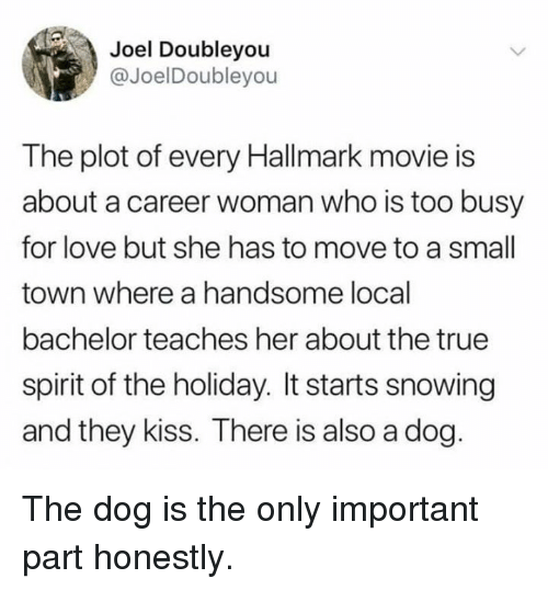 Dank, Love, and True: Joel Doubleyou  @JoelDoubleyou  The plot of every Hallmark movie is  about a career woman who is too busy  for love but she has to move to a small  town where a handsome local  bachelor teaches her about the true  spirit of the holiday. It starts snowing  and they kiss. There is also a dog The dog is the only important part honestly.
