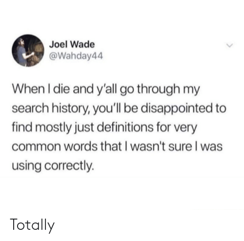 Disappointed, Common, and History: Joel Wade  @Wahday44  When I die and y'all go through my  search history, you'll be disappointed to  find mostly just definitions for very  common words that I wasn't sure l was  using correctly. Totally