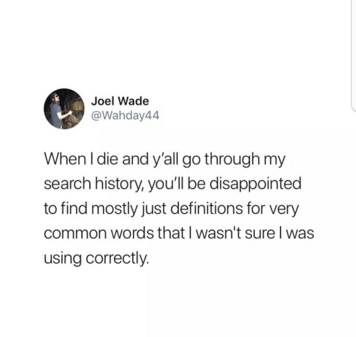 Disappointed, Common, and History: Joel Wade  @Wahday44  When I die and y'all go through my  search history, you'll be disappointed  to find mostly just definitions for very  common words that I wasn't sure l was  using correctly.