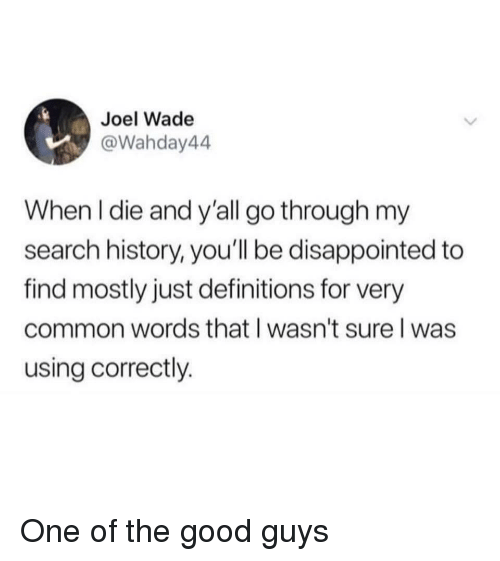 Disappointed, Common, and Good: Joel Wade  @Wahday44  When l die and y'all go through my  search history, you'll be disappointed to  find mostly just definitions for very  common words that l wasn't sure l was  using correctly. One of the good guys