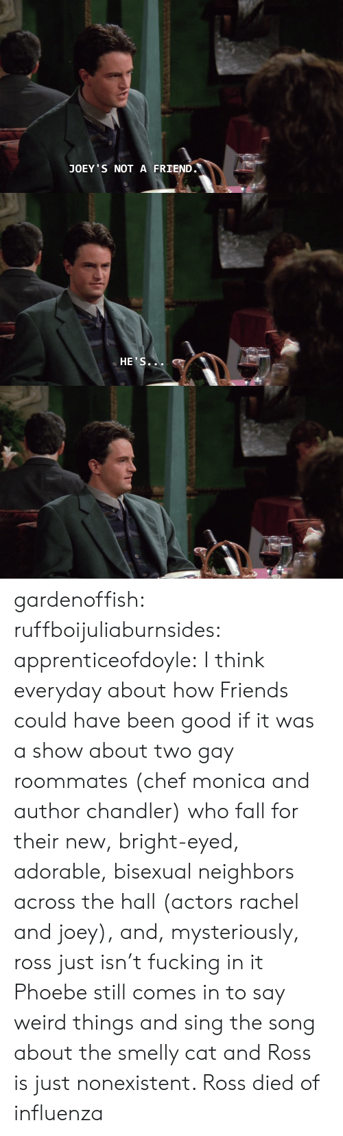 Fall, Friends, and Fucking: JOEY S NOT A FRIEND.   HE'S... gardenoffish: ruffboijuliaburnsides:  apprenticeofdoyle: I think everyday about how Friends could have been good if it was a show about two gay roommates (chef monica and author chandler) who fall for their new, bright-eyed, adorable, bisexual neighbors across the hall (actors rachel and joey), and, mysteriously, ross just isn't fucking in it Phoebe still comes in to say weird things and sing the song about the smelly cat and Ross is just nonexistent.    Ross died of influenza