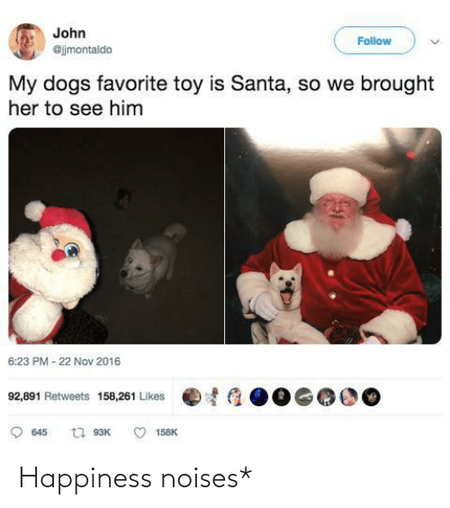 Happiness: John  Follow  @jjmontaldo  My dogs favorite toy is Santa, so we brought  her to see him  6:23 PM - 22 Nov 2016  92,891 Retweets 158,261 Likes  t1 93K  645  158K Happiness noises*