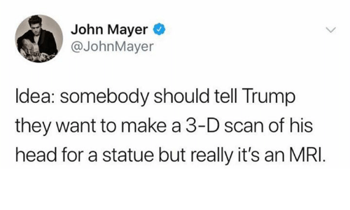 John Mayer: John Mayer  @JohnMayer  Idea: somebody should tell Trump  they want to make a 3-D scan of his  head for a statue but really it's an MRI
