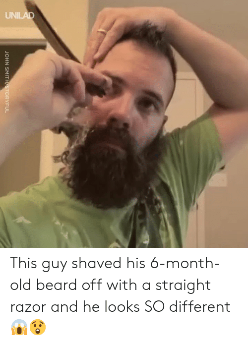 Razor: JOHN SMITH STORYFUL This guy shaved his 6-month-old beard off with a straight razor and he looks SO different 😱😲