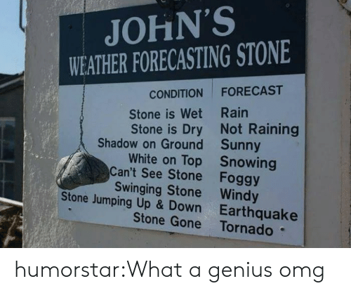 Tornado: JOHN'S  WEATHER FORECASTING STONE  FORECAST  CONDITION  Stone is Wet Rain  Stone is Dry Not Raining  Shadow on Ground Sunny  White on Top Snowing  Can't See Stone Foggy  Swinging Stone Windy  Stone Jumping Up & Down Earthquake  Stone Gone Tornado humorstar:What a genius omg