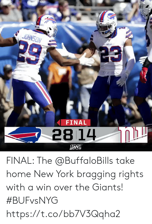 Memes, New York, and Giants: JOHNSON  LL  29  FI  FINAL  28 14 FINAL: The @BuffaloBills take home New York bragging rights with a win over the Giants! #BUFvsNYG https://t.co/bb7V3Qqha2