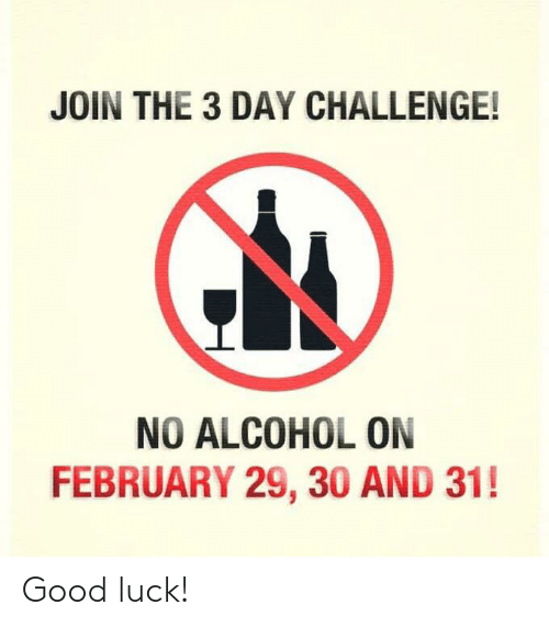 Memes, Alcohol, and Good: JOIN THE 3 DAY CHALLENGE!  NO ALCOHOL ON  FEBRUARY 29, 30 AND 31! Good luck!