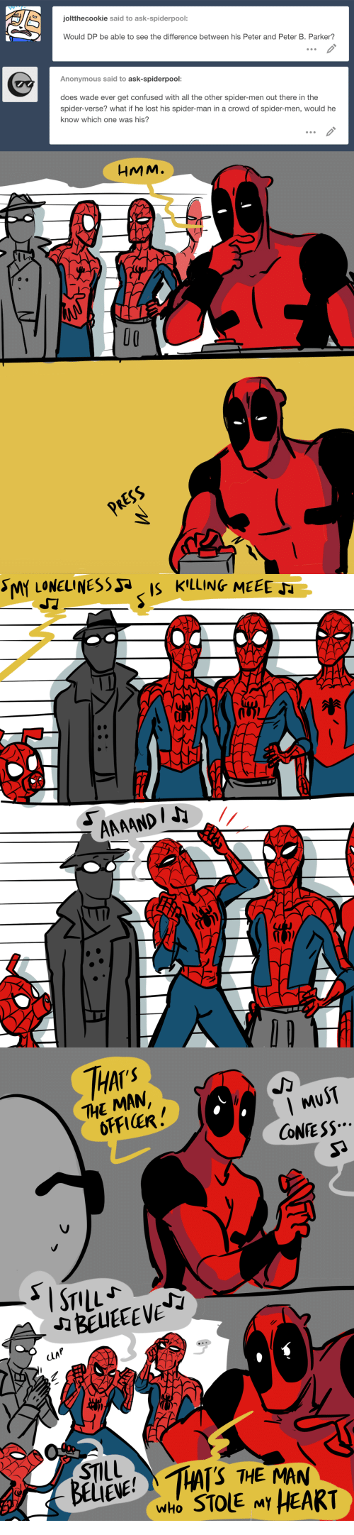 Confused, Spider, and SpiderMan: joltthecookie said to ask-spiderpool:  Would DP be able to see the difference between his Peter and Peter B. Parker?  Anonymous said to ask-spiderpool:  does wade ever get confused with all the other spider-men out there in the  spider-verse? what if he lost his spider-man in a crowd of spider-men, would he  know which one was his?  HMM.  O0  RESS   THAI  THE MAN  MuST  CONE SS  CLAP  STIL  BELIENE!HAS THE MAN  who STOLE MY HEART